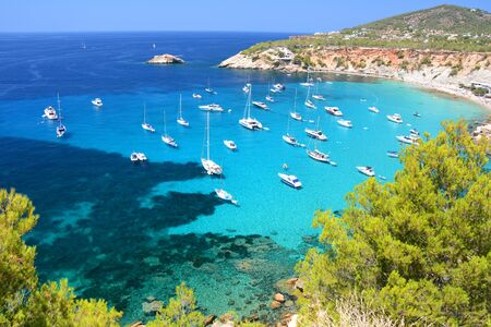 Cala dHort bay with beach and turquoise water on Ibiza island, Spain Banco de Imagens