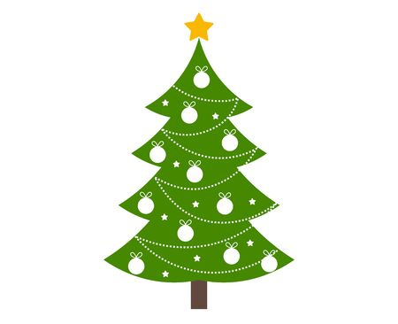 Christmas tree decorated on white. Vector illustration.