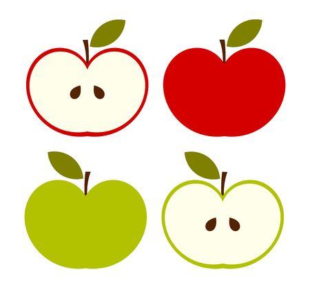 Conjunto de iconos de manzanas rojas y verdes. Ilustración de vector.