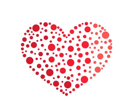 Heart shape icon made of dots. Vector illustration.