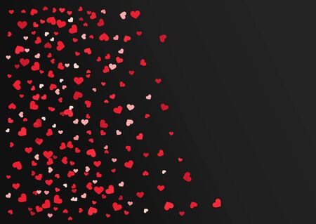 Red hearts confetti on black background. Vector illustration.