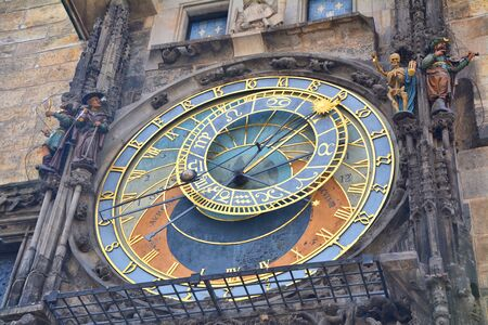 Close up of astronomical clock on town hall in the old town square in Prague. Famous tourist attration. Editorial