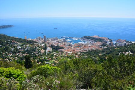 Monaco, aerial view from the hill on the city and country