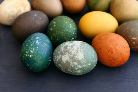 Naturally dyed Easter eggs, different colors. Stock Photo