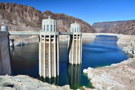 Hoover Dam on the Colorado River. Arizona side. Stock Photo