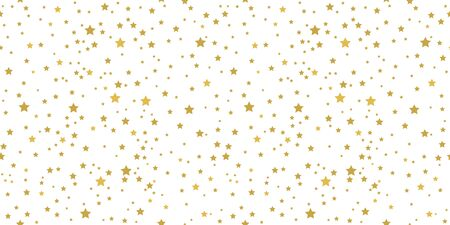 Golden stars on white background seamless pattern. Vector illustration.