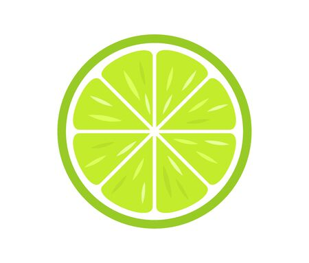 Green citrus lime slice icon. Vector illustration.