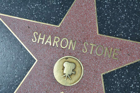 LOS ANGELES, CA, USA - MARCH 27, 2018 : The Hollywood Walk of Fame stars in Los Angeles. Sharon Stone star.