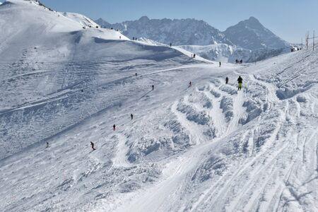 Ski slope on Kasprowy Wierch in Poland. Hala Gasienicowa in Tatra Mountains. Archivio Fotografico