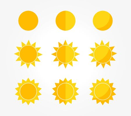 Set of sun icons. Vector illustration. Ilustracja