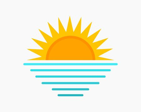 Sun and sea symbol. Sunset icon vector illustration.