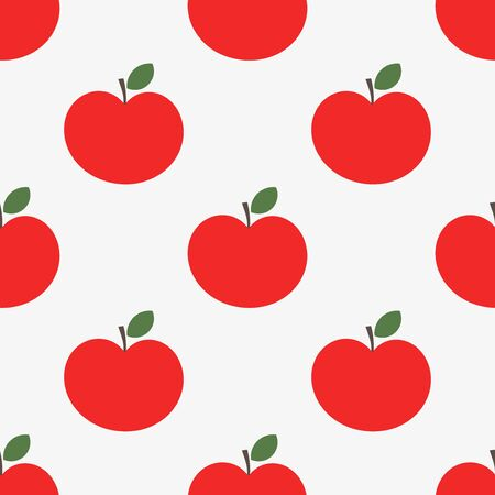 Red apples seamless pattern. Vector illustration.