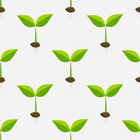 Little plants seedlings seamless pattern. Vector illustration.