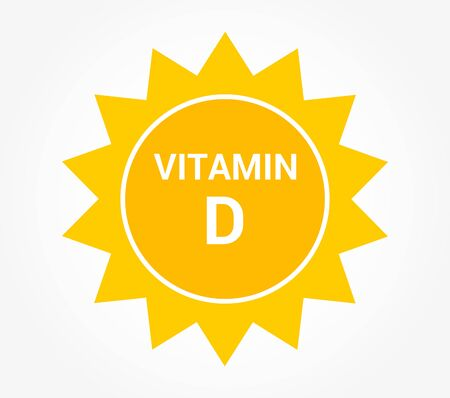 Sun icon, vitamin D production symbol. Vector illustration.