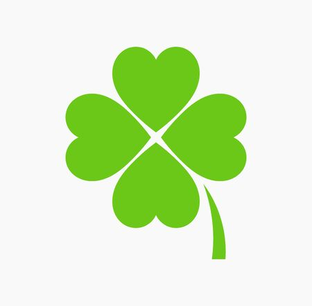 Four leaf green clover icon. St Patrick Day vector illustration.