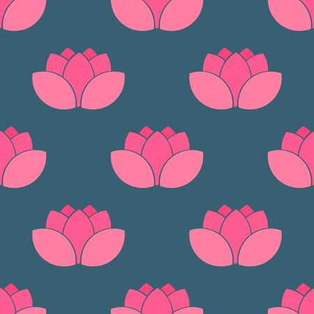 Pink lotus flowers seamless pattern. Vector illustration. Ilustracja