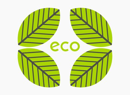 Green leaveas eco symbol. Vector illustration.