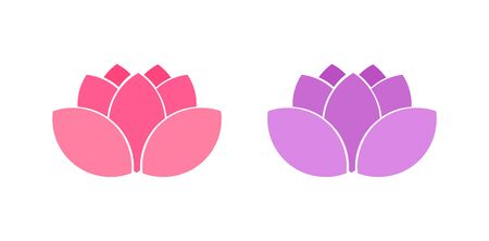 Lotus flowers pink and purple icons. Vector illustration.