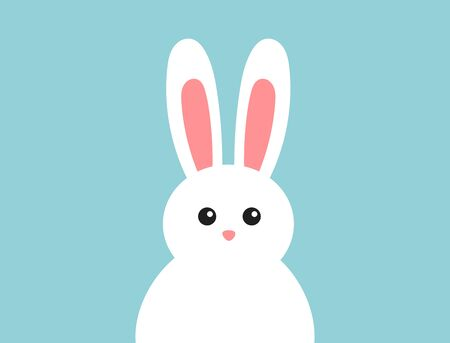Easter fluffy white bunny on blue background. Vector illustration. Ilustracja