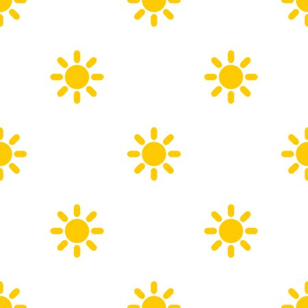 Yellow sun summer seamless pattern. Vector illustration.