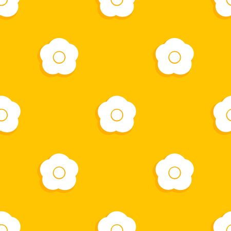 White flowers on orange background seamless pattern. Vector illustration.