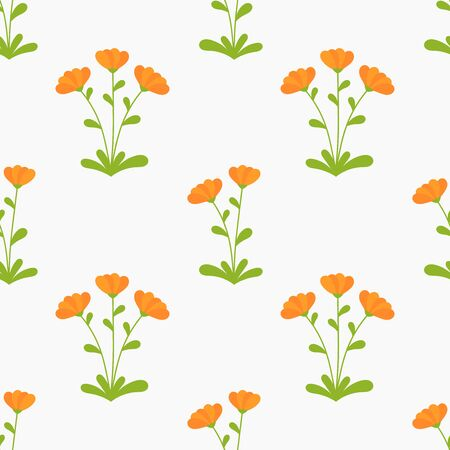 Orange Calendula flowers seamless pattern. Vector illustration. Ilustracja