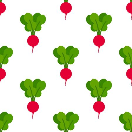 Red radishes seamless pattern. Vector illustration.