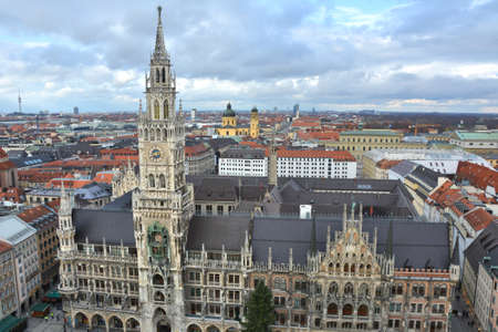 Landmark of Marienplatz, new town halll in old town Munich, Germany Publikacyjne