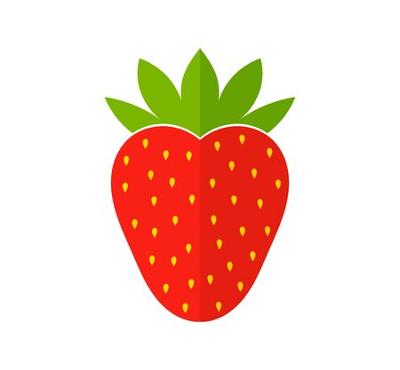 Red strawberry flat design icon. Vector illustration. Ilustracja