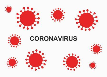 Coronavirus virus red symbol on white background. Vector illustration.