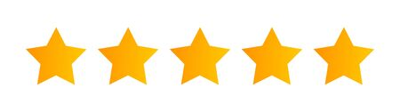 Five stars quality rating icon isolated on white. Vector illustration.