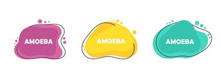 Set of three colors of flat design modern amoeba banners. Vector illustration.