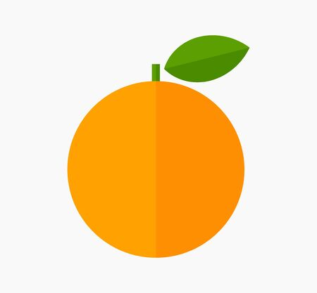 Orange fruit with leaf flat design icon. Vector illustration.