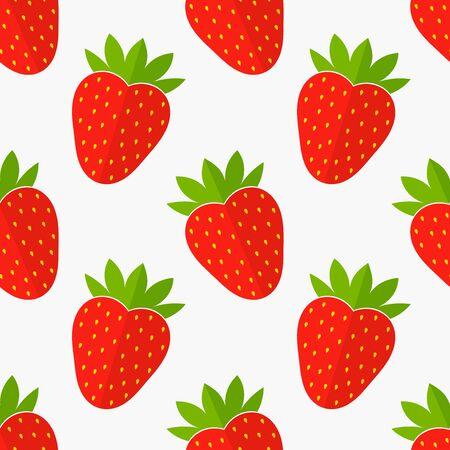 Strawberries fruit seamless pattern. Flat design vector illustration.
