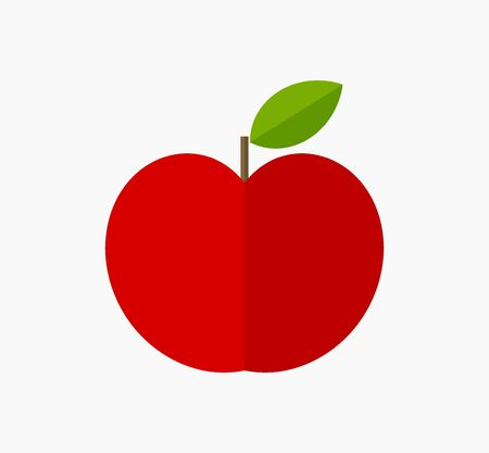 Red apple fruit flat design icon. Vector illustration. Ilustracja