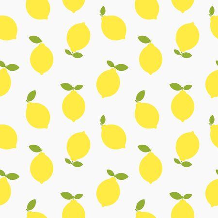 Yellow lemons seamless flat summer pattern. Vector illustration.