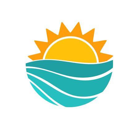 Sunset sun and sea wave summer symbol. Vector illustration.