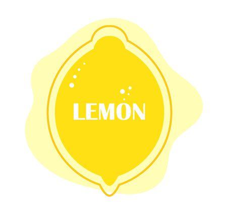 Lemon fruit yellow label or banner. Flat design vector illustration.