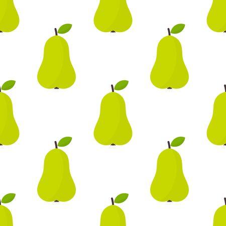 Pear fruit green seamless pattern. Vector illustration.