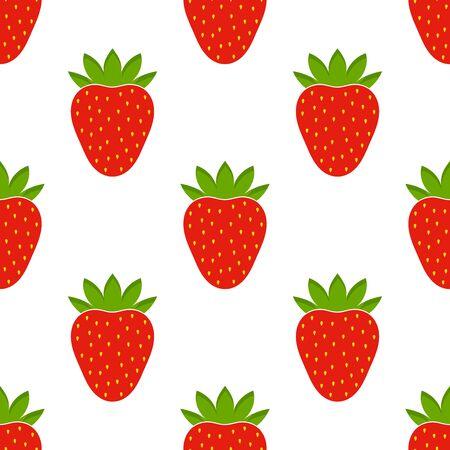 Red fresh strawberries seamless pattern. Vector illustration. 向量圖像