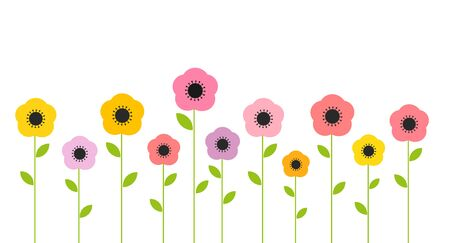 Colorful cute summer flowers growing in the garden. Flat design vector illustration. 向量圖像