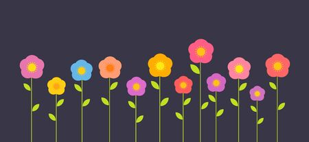 Colorful simple flowers on dark background. Vector illustration.
