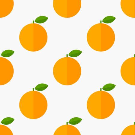 Orange fruits citrus seamless flat design pattern. Vector illustration.