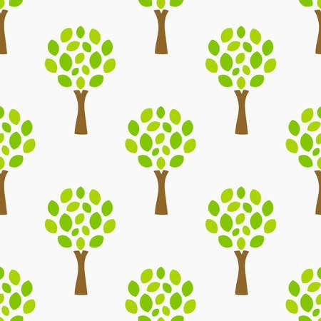 Green trees natural seamless pattern. Vector illustration.