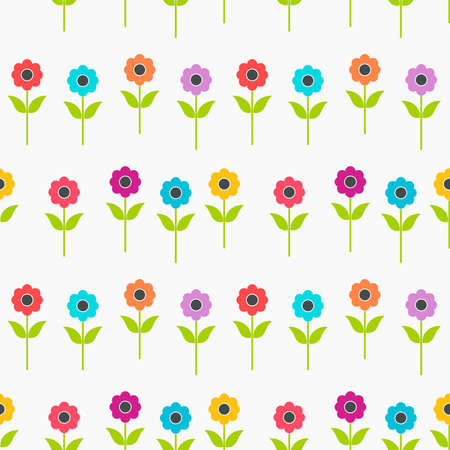 Colorful summer flowers seamless pattern. Vector illustration.