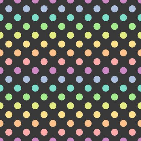 Bright pastel colors polka dot seamless pattern. Vector illustration