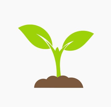 Plant seedling growing from soil in the garden icon. Vector illustration. Vetores
