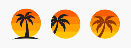 Palm tree and sunset sun symbols. Vector illustration.