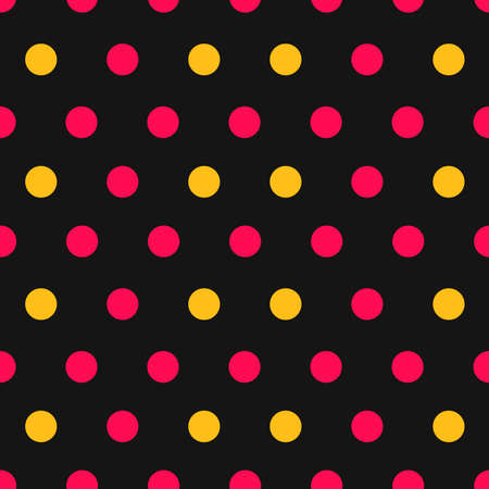 Pink and yellow polka dots on black background seamless pattern. Vector illustration. 向量圖像