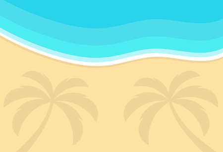 Sand beach, palm trees shadow and sea view from above background. Vector illustration,  イラスト・ベクター素材